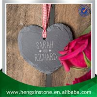 10*9*0.5cm Heart Shape Natural Edge Slate Hanging Heart Tag Keepsake Gift