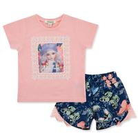 Kids Girl Clothes Set Pink Summer Wear 100 Cotton 2-6T Baby Wear