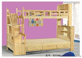 Thailand children's mother bed with oak bed lockers 8014#