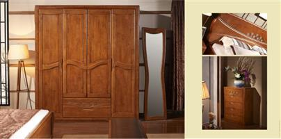 Four door wardrobe, imported solid wood