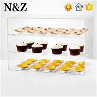 NZ M48 Clear Acrylic Cake Pastry Display Cabinet 3 Layers Acrylic Food Display