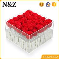 NZ Wholesale Square Handmade Acrylic Rose Box Custom Clear Acrylic Folwer Box