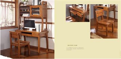 Solid wood belt bookshelf computer desk
